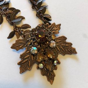 Fall crystal and leaf necklace